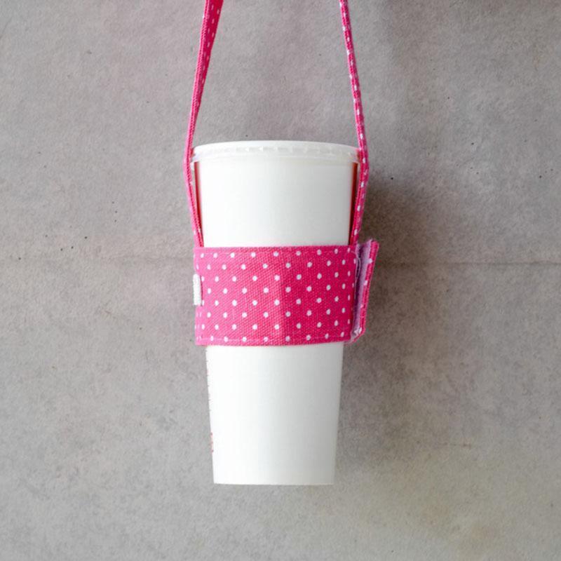 隨行飲料杯套-粉紅點點