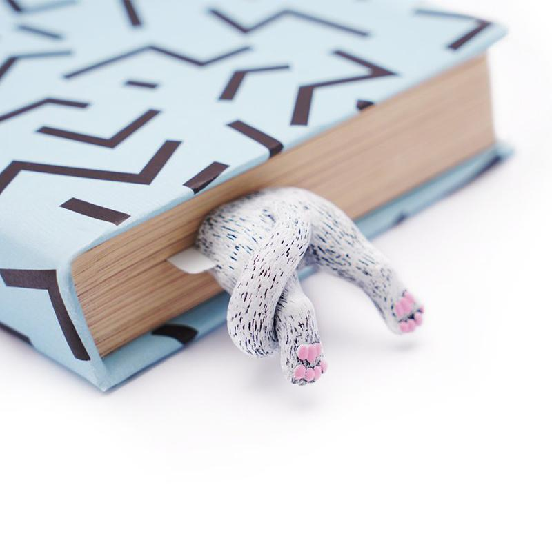 手工書籤-肉球腳丫小白貓