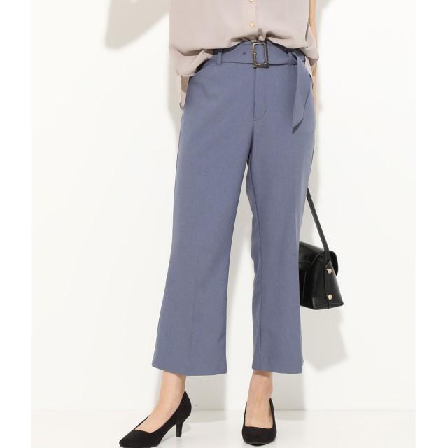 パンツ・ズボン全般 - ViS 【EASY CARE & COOL TOUCH】ベルト付きフレアクロップドパンツ