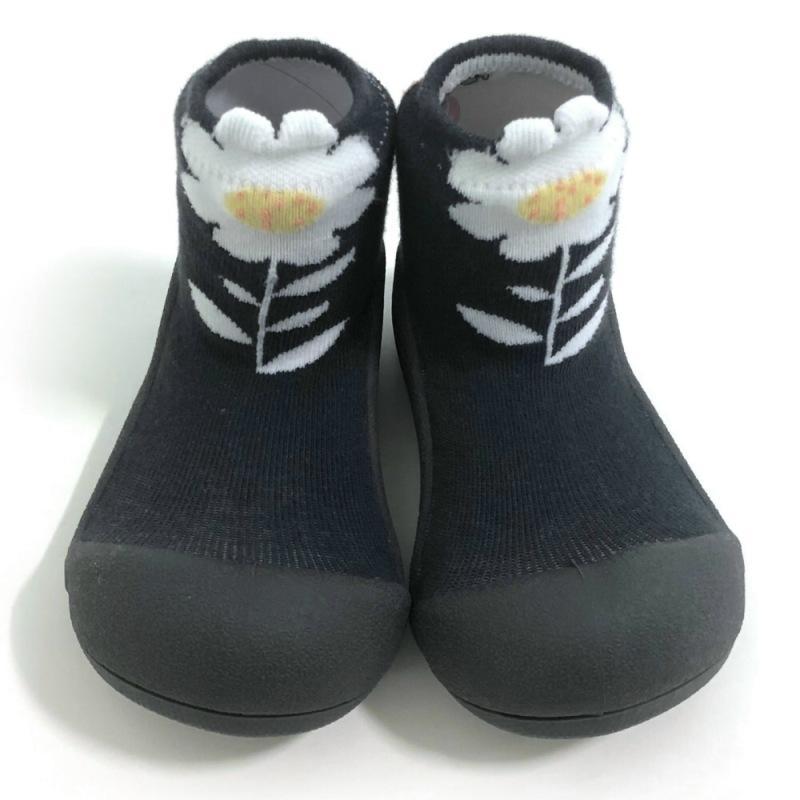 快樂學步鞋-黑色小花 L
