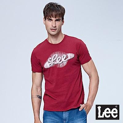Lee 復古地球LOGO短袖圓領TEE-暗紅