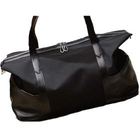 荷物袋 ユニセックス一晩中週末オックスフォード布革防水ジムスポーツ持ち込み荷物ショルダーバッグ 持ち運びが簡単 (色 : ブラック)