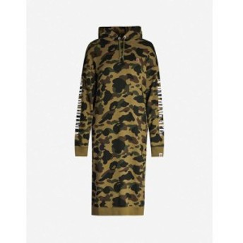 ベイプ BAPE レディース ワンピース ワンピース・ドレス Camouflage-print cotton-jersey hoody dress Green