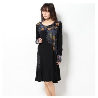 デシグアル Desigual DRESS LONG SLEEVE VEST_AMA REP (グレー/ブラック)
