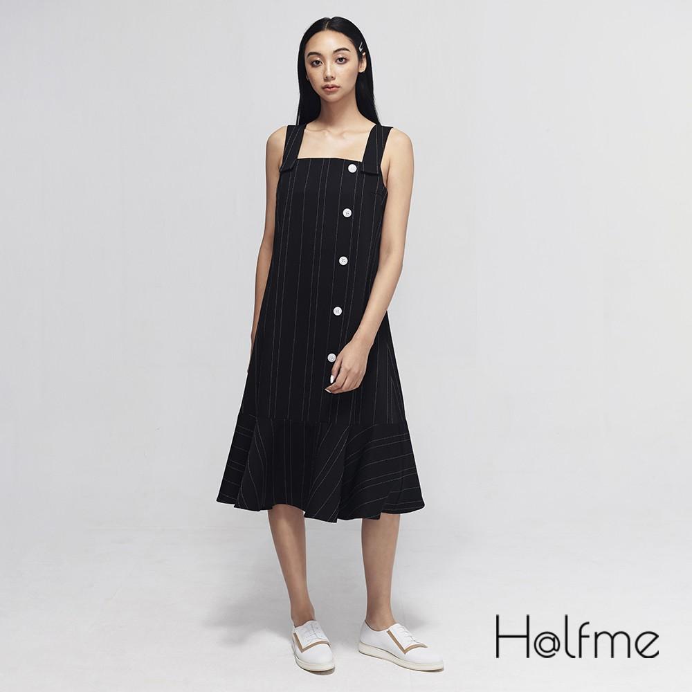 Halfme 荷葉裙擺條紋吊帶洋裝 - 女