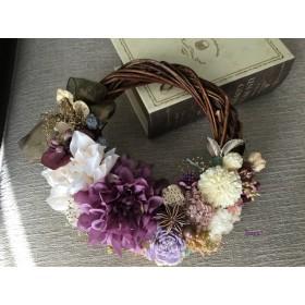 Mauve dahlia × White rose  wreath  ハーフリース クリスマス 冬 ギフト
