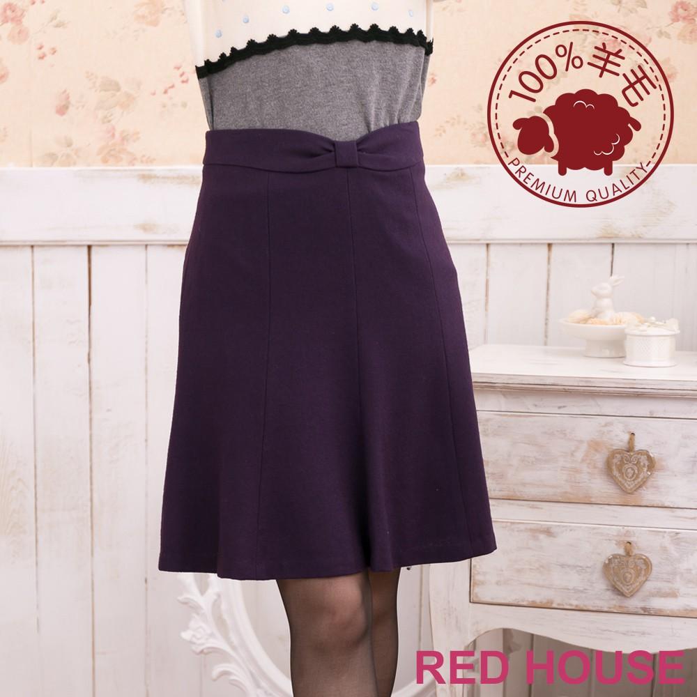 【RED HOUSE 蕾赫斯】大蝴蝶結羊毛及膝裙(紫色)