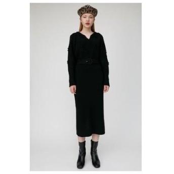 マウジー moussy BELTED FLOWER MOTIF DRESS (ブラック)