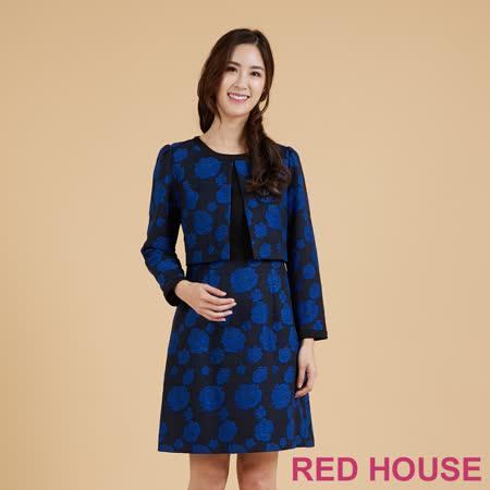 RED HOUSE 蕾赫斯-玫瑰閃亮假兩件洋裝(藍色)