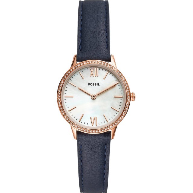 【FOSSIL】晶鑽雙針女錶-珍珠貝x藍/30mm(FS5569)