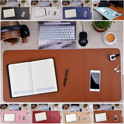 純色皮革加大號滑鼠墊防滑防水電腦辦公桌墊書桌墊鍵盤墊寫字臺