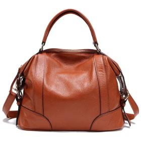 レディースレディースレザートップハンドルバッグハンドバッグショルダートートバッグ付きデートショッピング日常生活の女性のカジュアルなハンドバッグ - 大人 シンプル プレゼント (Color : Brown, Size : Free Size)