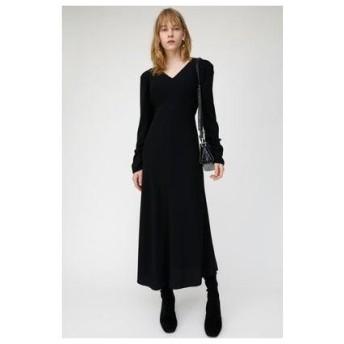 マウジー moussy PUFF SHOULDER LONG DRESS (ブラック)