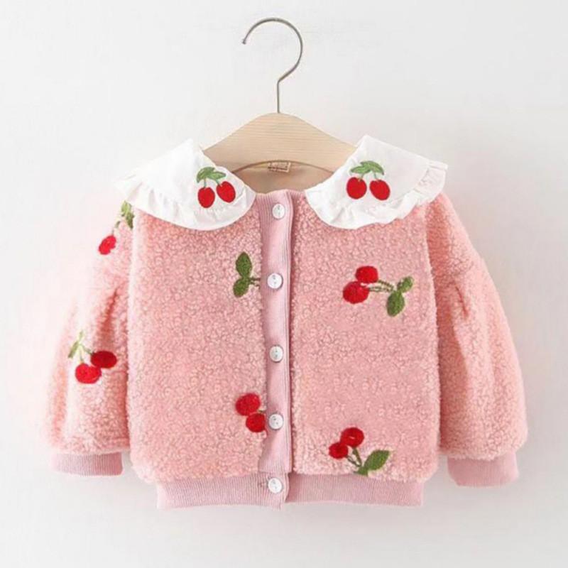 秋冬款兒童外套 女童加厚保暖棉服 寶寶可愛娃娃領長袖毛絨外套上衣【IU貝嬰屋】
