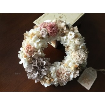 Ivory White nuts wreath  リース ギフト ホワイト