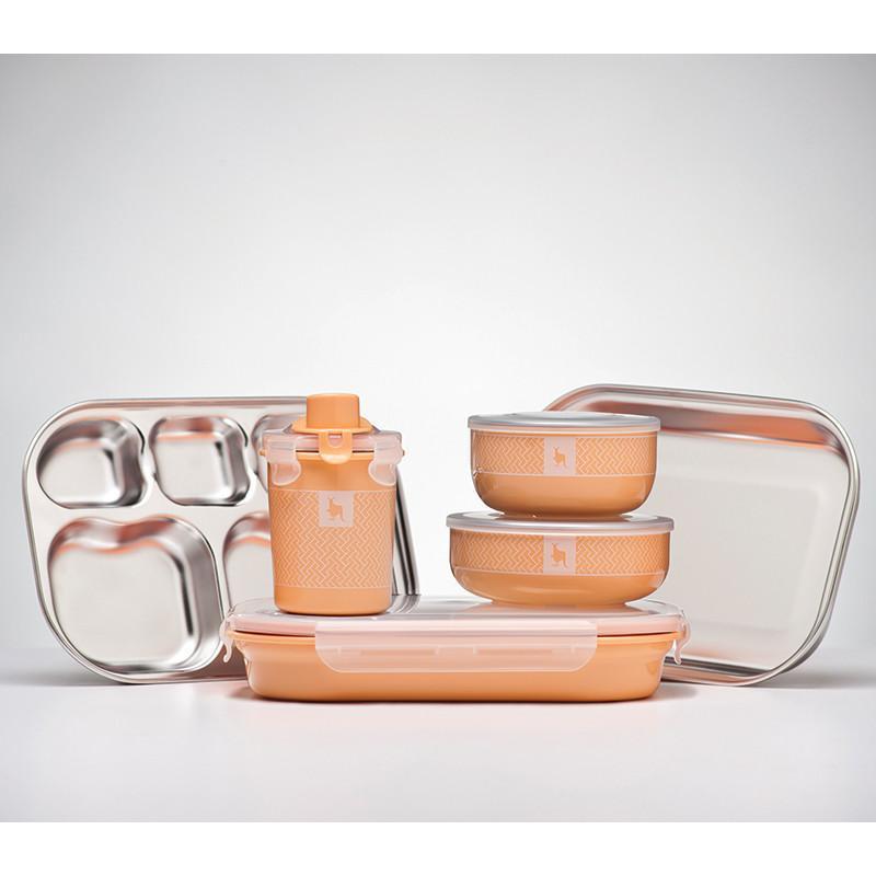 小袋鼠不銹鋼安全兒童全配餐具組 - 奶油橘