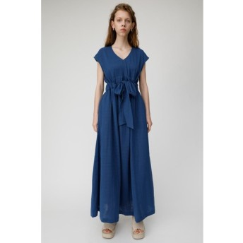 マウジー moussy DOUBLE GAUZE LONG DRESS (ブルー)