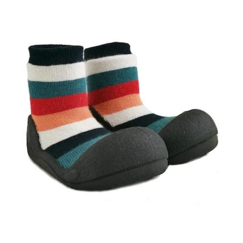 快樂學步鞋-彩虹黑底- L