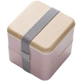 二層のランチボックス、日本の弁当箱 - スープ缶+ランチボックスバッグ+食器では、電子レンジオーブンを加熱することができます (Color : Pink)
