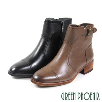 GREEN PHOENIX 波兒德 仿舊金屬扣線條感真皮細絨毛低粗跟短靴 U21-29510