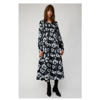 マウジー moussy MONOTONE FLOWER DRESS (ブラック)
