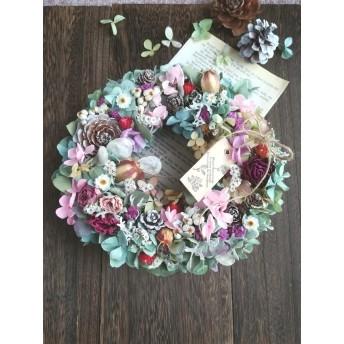 紫陽花と薔薇 フラワーリース・°♪ L1901 ドライフラワー