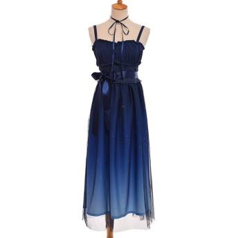 DORA⊕BRS甘い妖精ロリータドレス夏紺星空グラデーションカラー JSK サスペンダーメッシュかわいいドレス