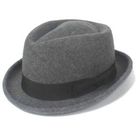 SGJFZD 2019冬の帽子のFedoraハットフェルトウールボウ紳士ジャズナイトハットウールウォーム (色 : グレー, サイズ : 56-58CM)