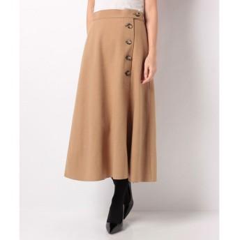 YECCA VECCA ・ボタンデザインAラインスカート(キャメル)【返品不可商品】