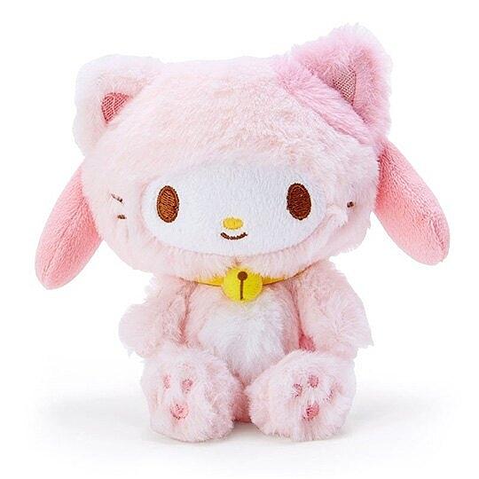 〔小禮堂〕美樂蒂 貓裝沙包絨毛玩偶娃娃《粉白》沙包玩具.擺飾 4930972-49141