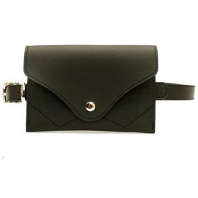 人格小さな女性封筒ウエストバッグベルトバッグpuレザーファニーパック取り外し可能ベルト付きウエストポーチミニ財布財布旅行携帯電話バッグ - 小物の収納 (色 : ブラック)