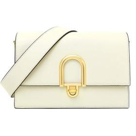 レディースカジュアルショルダーバッグ 女性のメッセンジャーバッグファッションジッパーバッグフラップロック閉鎖ショルダーバッグ (Color : White, Size : (23cm x 10cm x 14 cm))
