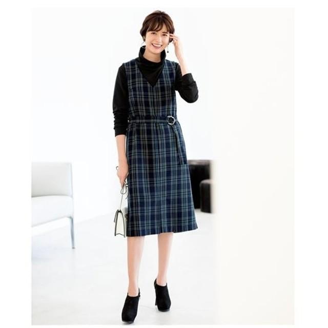 [マルイ] チェック柄ジャンパースカート(共布ベルト付き)(大きいサイズ)/プランプ(plump)