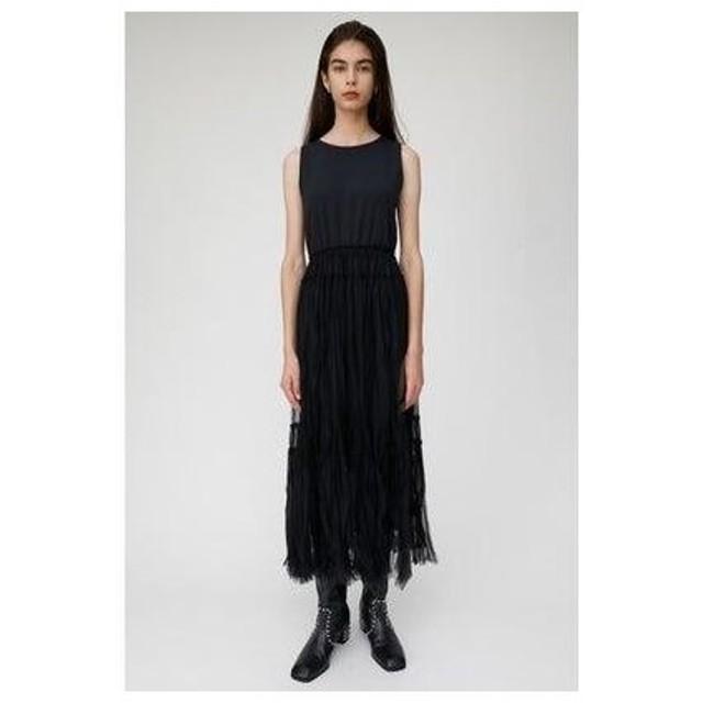 マウジー moussy LAYERED TULLE LONG DRESS (ブラック)