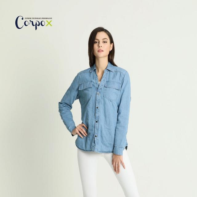 【Corpo X】女款科技羽絨牛仔襯衫-3M Thinsulate-牛仔藍
