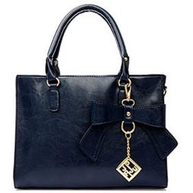 Nunulu 女性のジッパーハンドバッグボウショルダー対角線ハンドバッグ中年の母バッグPUハンドバッグ (色 : 青)