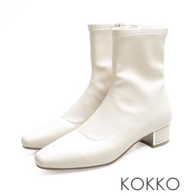 KOKKO繁華卡薩布蘭卡金屬跟方頭襪靴米白
