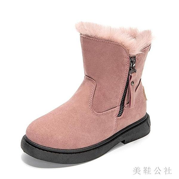 女童雪地靴2019新款秋冬款棉鞋加厚加絨短靴冬季兒童防滑保暖靴子 YN2987『美鞋公社』