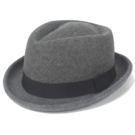 Jieming 2019 Fedoraの帽子冬春フェルトウールブラックリボン紳士教会帽子ジャズ帽子。 (色 : グレー, サイズ : 56-58CM)