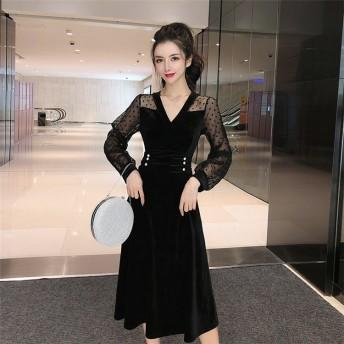 [55555SHOP]新作期間限定大特価 メッシュ 縫付 ウエスト Aライン Vネック ゴールドベルベットワンビース大人の魅力 上品 女性らしい 日系ファッション おしゃれな トレンド CHIC気