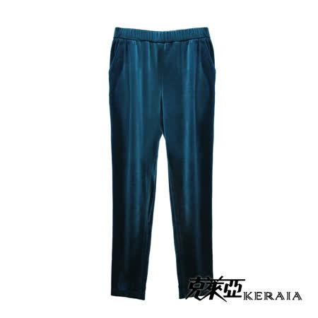 【KERAIA 克萊亞】亮絨閃粉滾邊休閒褲