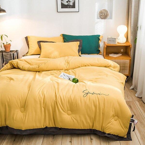 冬天保暖被 單人/雙人 羽絨被北歐簡約【黃色】 極致柔軟/床包 J HOME+就是家 樂天