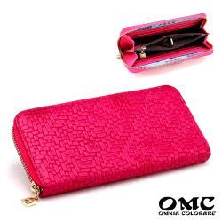 【OMC】簡約氣質編織壓紋牛皮單拉鍊長夾(玫紅)