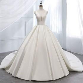 ウエディングドレス 女性のためのダブルショルダーVネックサテンショートスリーブロングイブニングレースAラインのウェディングドレス (色 : White, Size : 14)