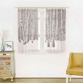 山 白い透け窓のカーテン レースカーテン 幅100cm×丈100cm 半透明感 ポンポン 洗える 省エネ 雪に覆われた山の白irの森寒い冬時間風景画像印刷 ホワイトグレーブラック