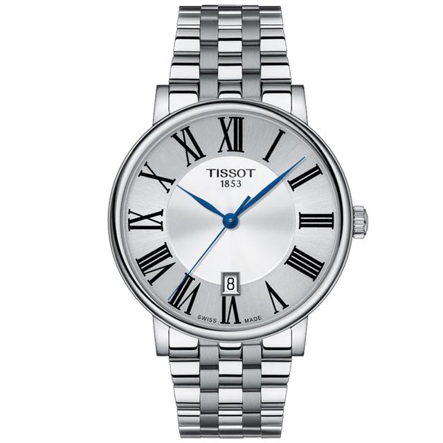 TISSOT 天梭 CARSON PREMIUM經典羅馬紳士腕錶/銀/40mm/T1224101103300