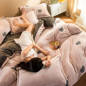 フォーピーススーツ、布団カバーダブルホワイトウール冬のキルトカバー、4ピース暖かい寝具セット、コーラルフリース寝具、厚い綿 絶妙な (Color : B, Size : 200230cm)