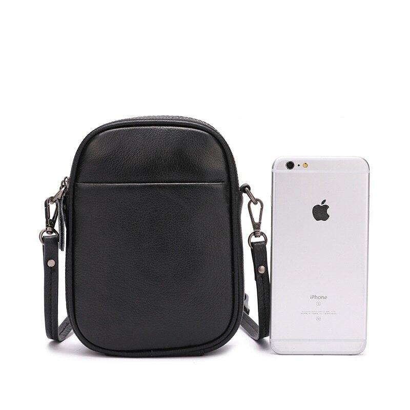 肩背包真皮側背包-黑色簡約雙層手機包男女包包73wp2【獨家進口】【米蘭精品】