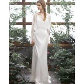 ウェディングドレス 白 二次会 花嫁 大きいサイズ 小さいサイズ 袖あり ロングドレス レース セットアップ スレンダーライン
