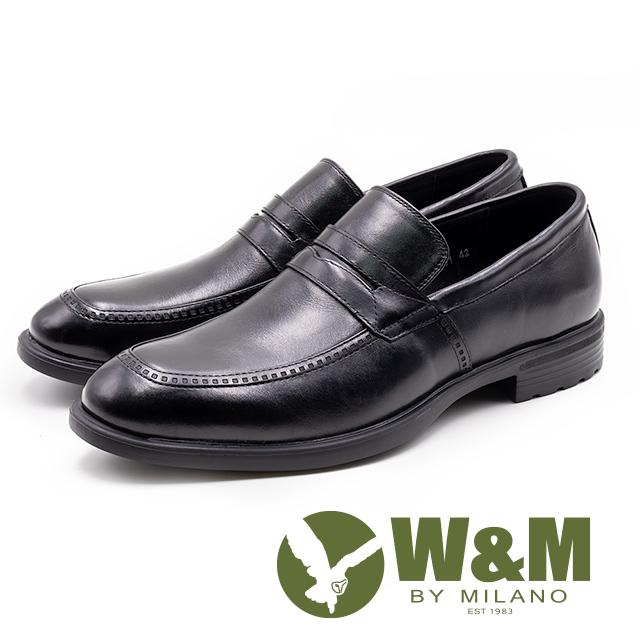 W&M 真皮 拉鍊尺壓紋樂福鞋 男鞋 - 黑